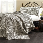 King size 3-Piece Cotton Quilt Set in Black White Damask