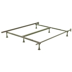 King size 6-Leg Sturdy Metal Bed Fame with Glides and Headboard Brackets