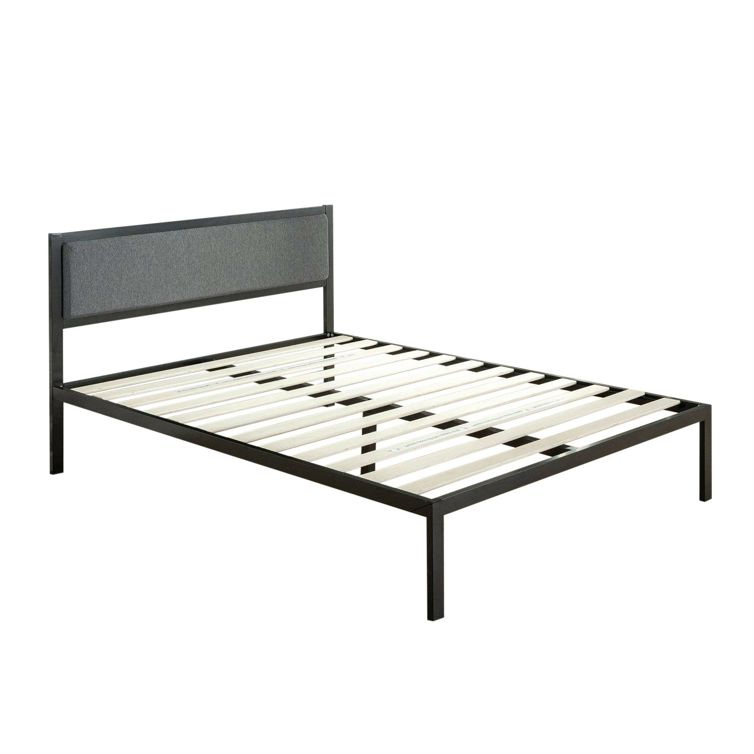 King Size Metal Platform Bed Frame With Wood Slats And Upholstered Headboard Fastfurnishings Com