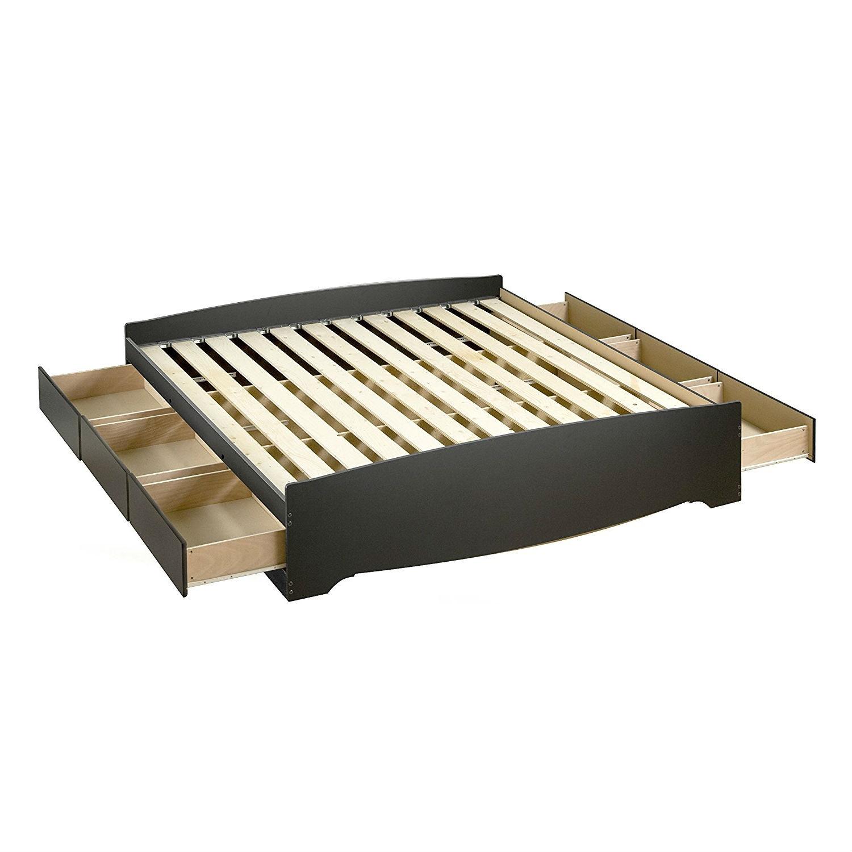 King Size Black Wood Platform Bed Frame With Storage Drawers Fastfurnishings Com