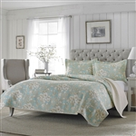 King size 3-Piece Reversible Cotton Quilt Set with Seafoam Blue Beige Floral Pattern