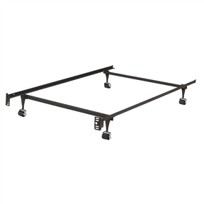 Twin Metal Bed Frame w/ Locking Rug Roller Wheels & Headboard Brackets