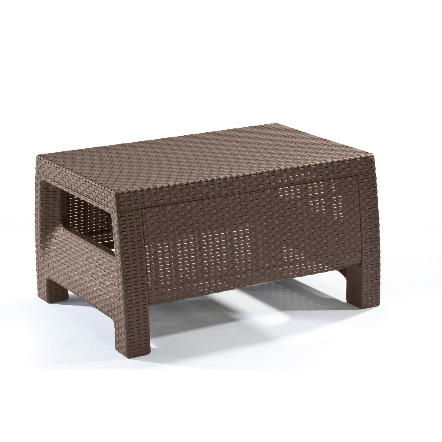 Modern patio table ottoman in brown outdoor weather resistant plastic rattan fastfurnishings com
