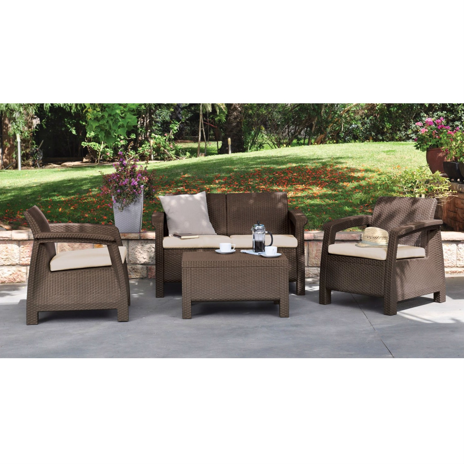 Modern Patio Table Ottoman in Brown Outdoor Weather Resistant