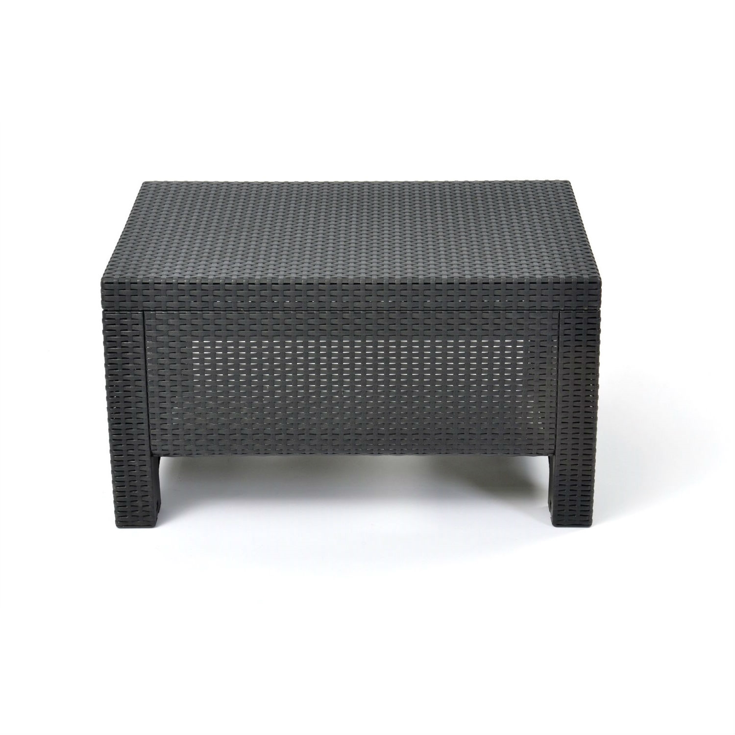 Black Wicker Coffee Table: Contemporary Outdoor Coffee Table In Durable Black Plastic