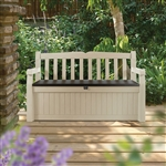 Beige Resin Eco-Friendly 70-Gallon Outdoor Garden Bench Deck Box