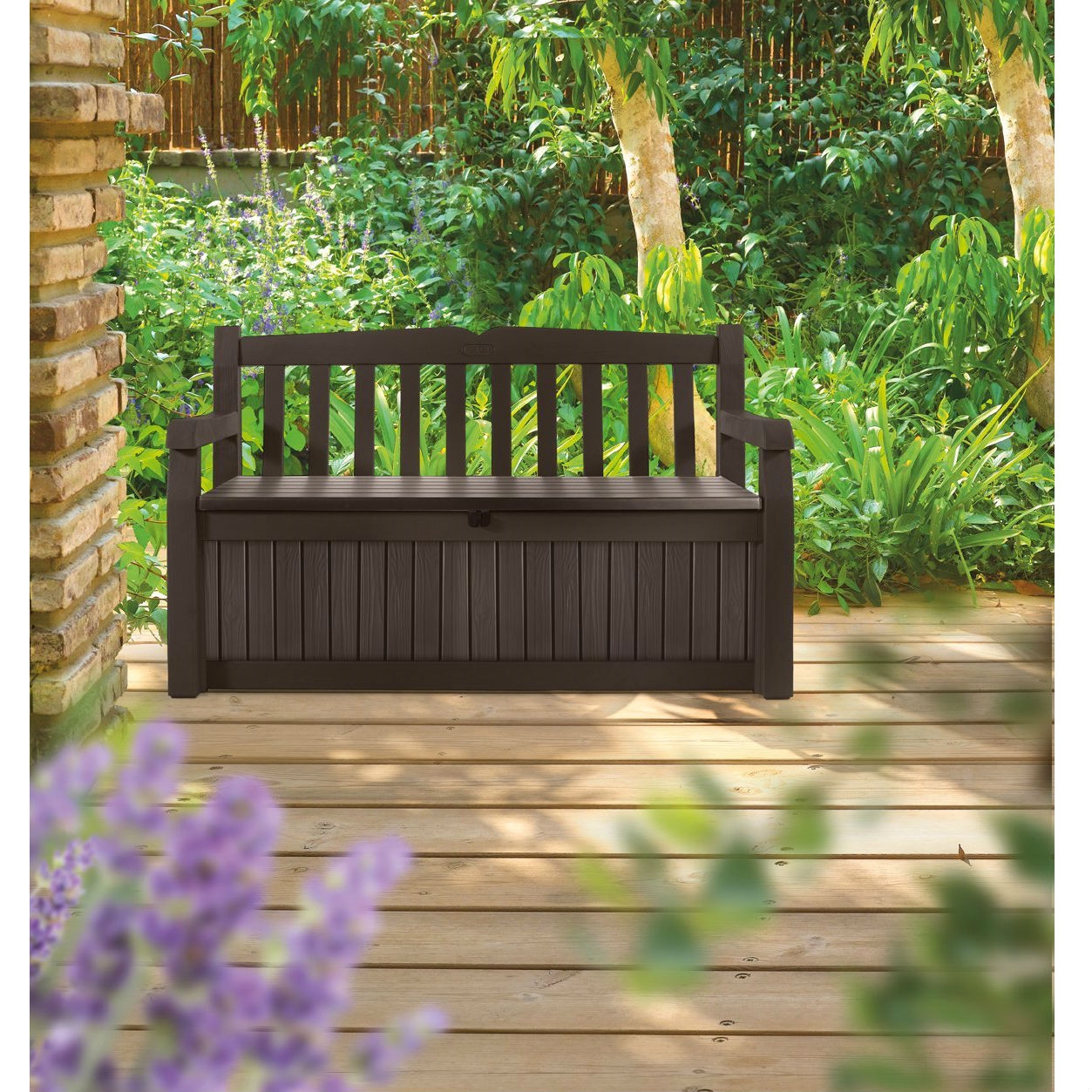 Brown Resin Outdoor Patio Garden Bench with Storage Box