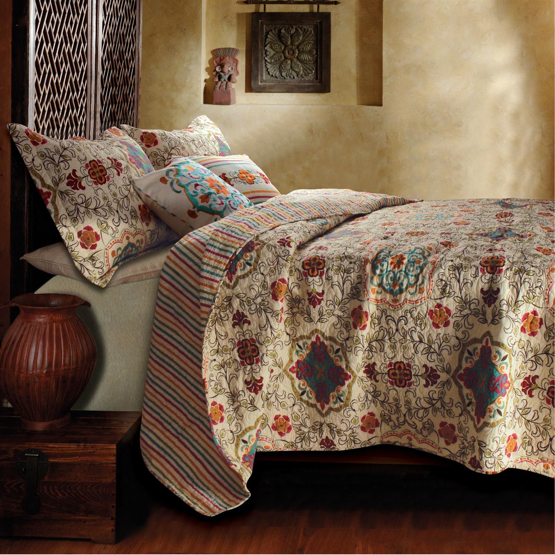 King Size 5 Piece Reversible Cotton Quilt Set With Bohemian Motif Fastfurnishings Com
