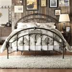 King size Antique Dark Bronze Metal Bed with Arch Headboard and Footboard