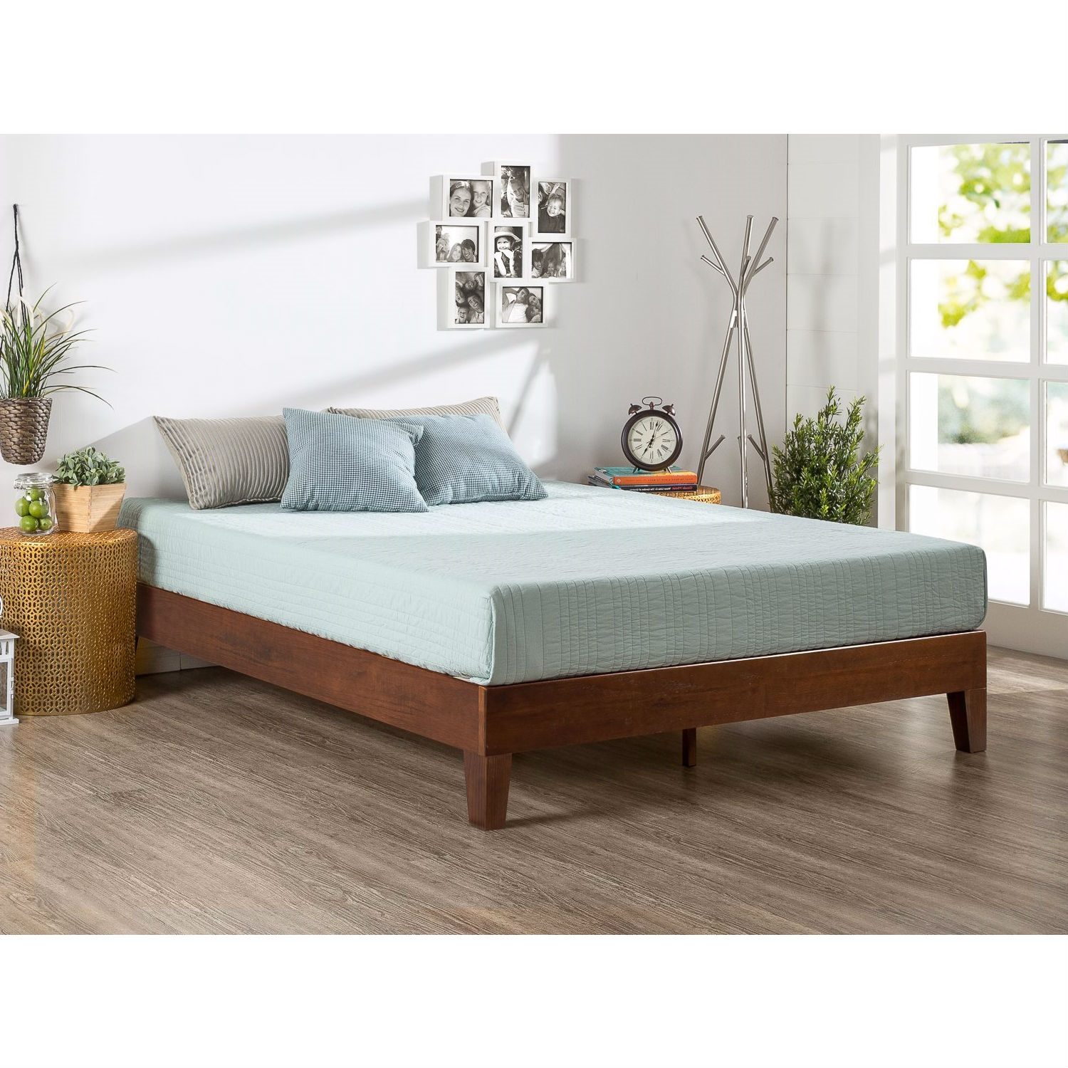 King size Low Profile Solid Wood Platform Bed Frame in Espresso