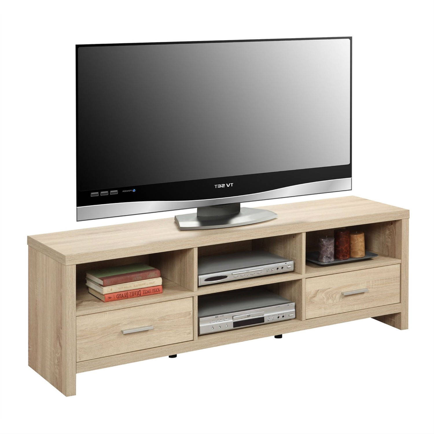 Light Wood Grain Modern 60 Inch Tv Stand Entertainment Center