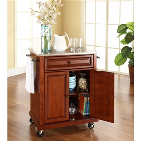 Stainless Steel Top Portable Kitchen Island Cart in Classic Cherry