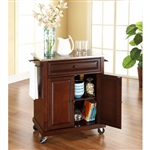 Portable Stainless Steel Top Kitchen Cart Island in Vintage Mahogany