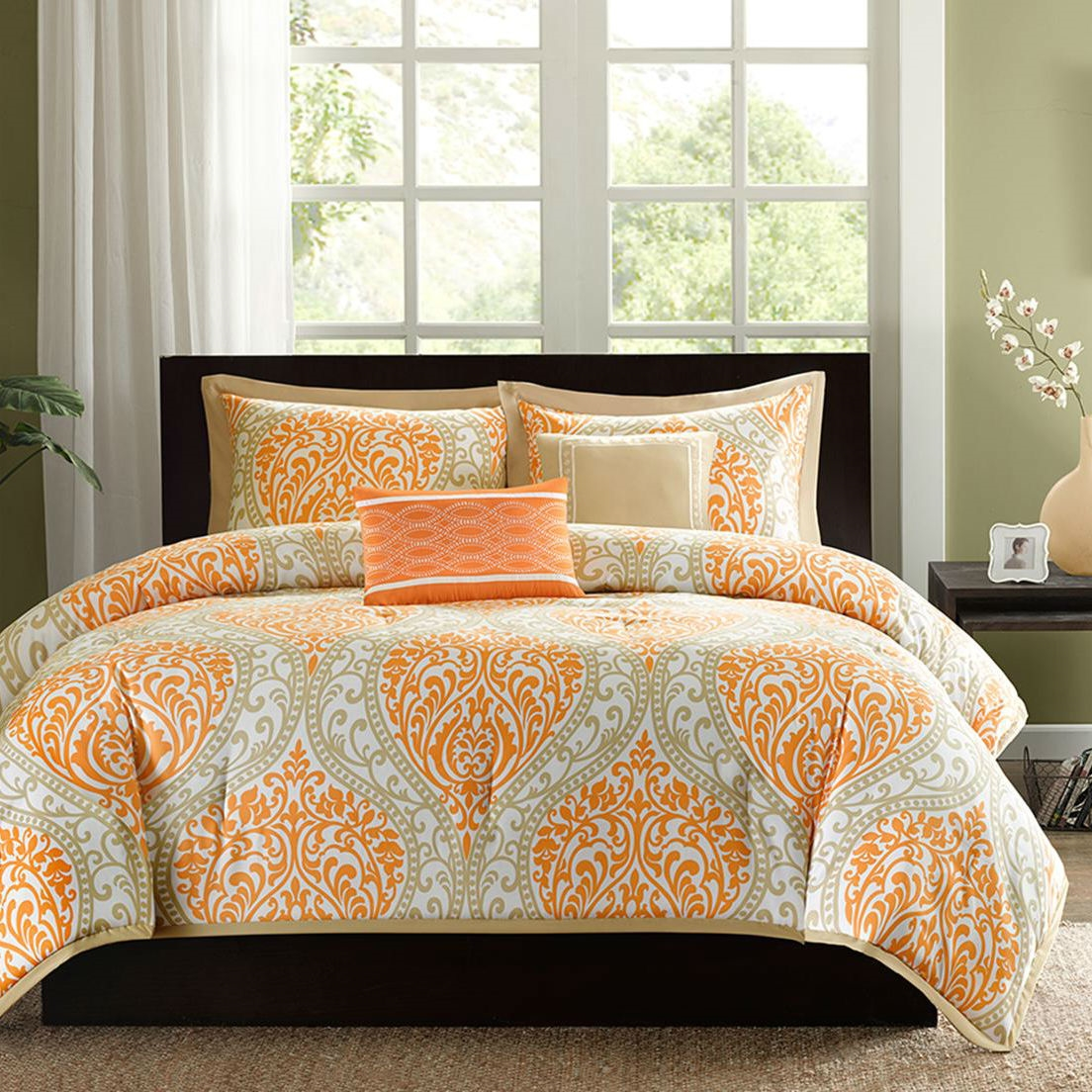 King size 5 Piece Comforter Set in Orange Damask Print