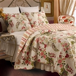 King size 3-Piece Cotton Quilt Set in Pink Beige Floral Butterflies