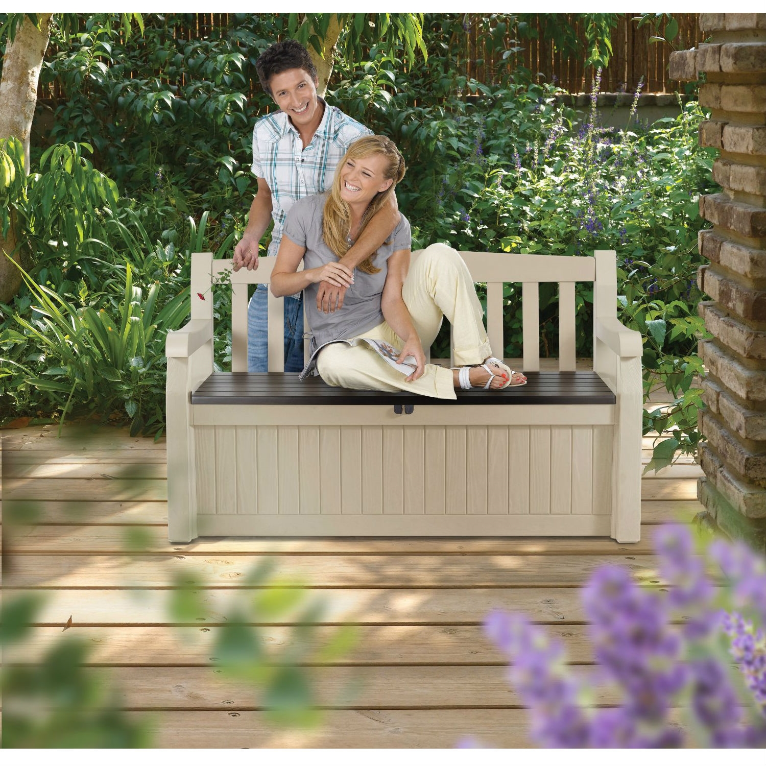 Patio Bench with Arm Rest and Storage Box in Beige Weather