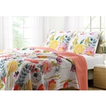 King size 3-Piece Cotton Quilt Set with Multi-Color Floral Pattern