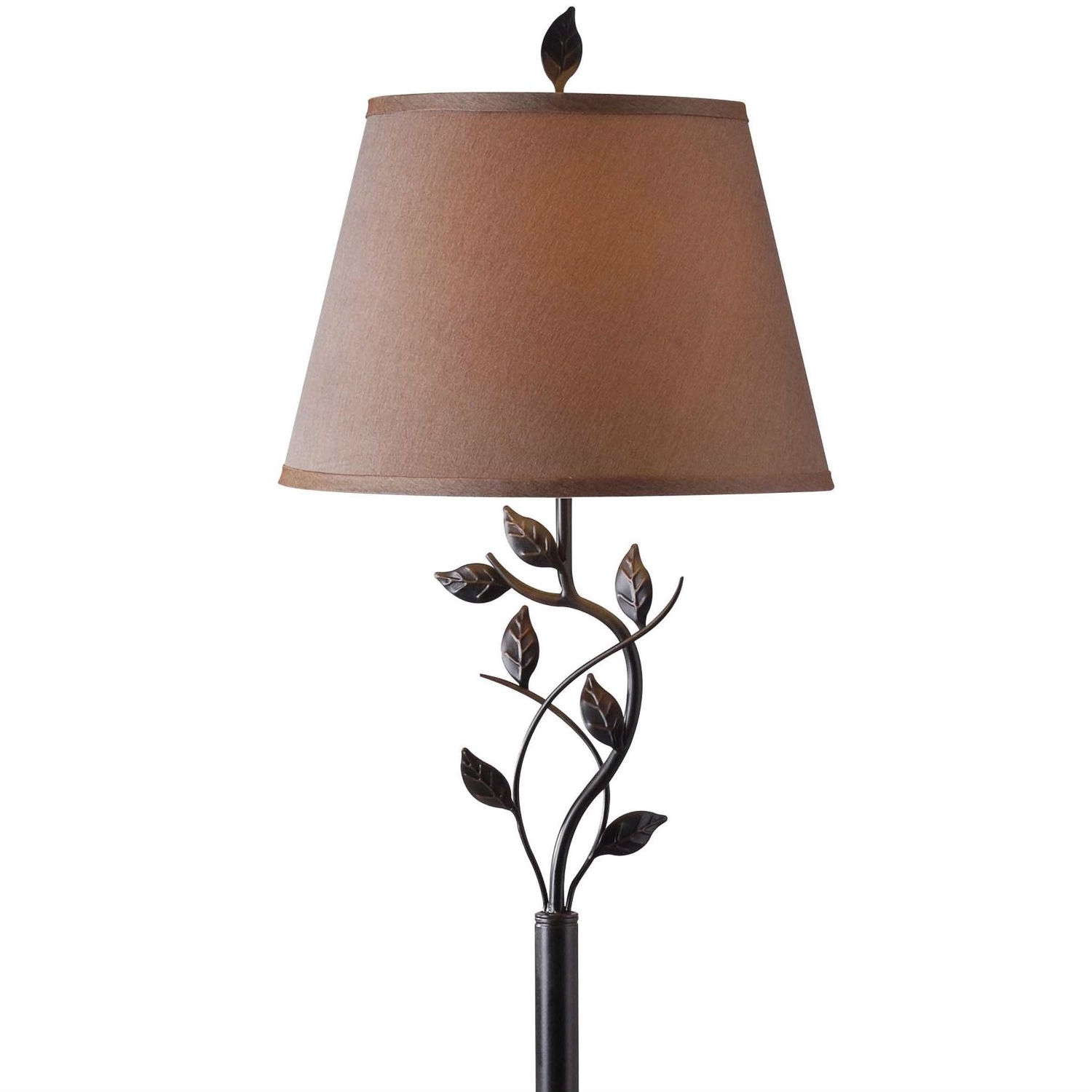 Vine Leaves Rubbed Bronze Finish Floor Lamp With 15 Inch
