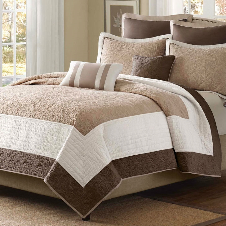 King Brown Ivory Tan Cream 7 Piece Quilt Coverlet