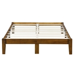 King size Solid Wood Platform Bed Frame in Brown Natural Finish