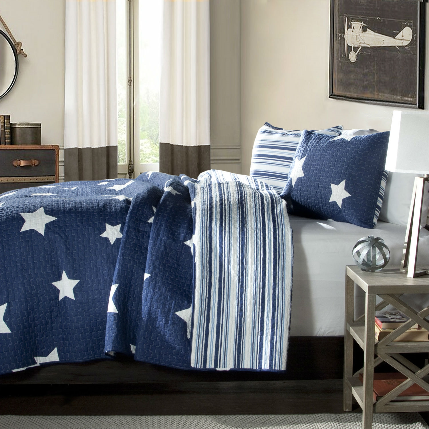 Navy Star And Stripes At Night Quilt Coverlet Bedspread Set : quilt coverlet - Adamdwight.com