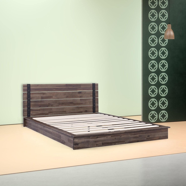 King Size Farmhouse Acacia Wood Industrial Low Profile Platform Bed Frame Fastfurnishings Com