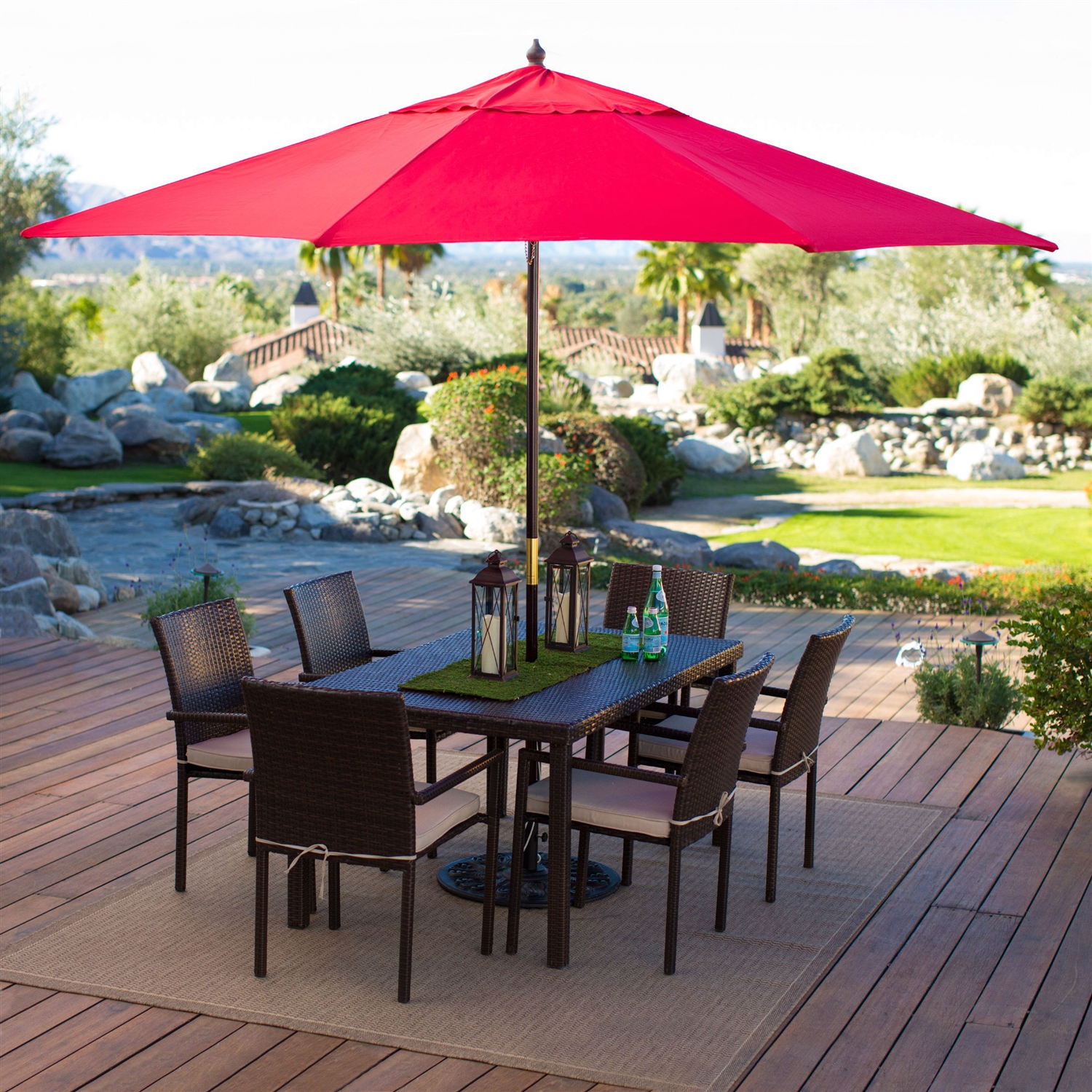 Outdoor Patio 11 Ft Market Umbrella With Red Shade Canopy