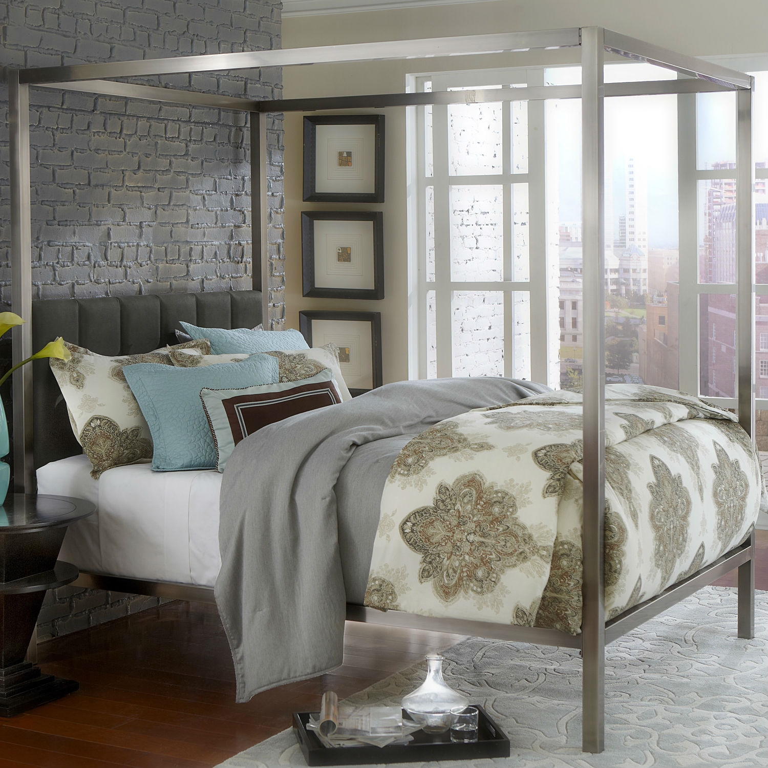 - King Size Modern Metal Canopy Bed With Upholstered Headboard