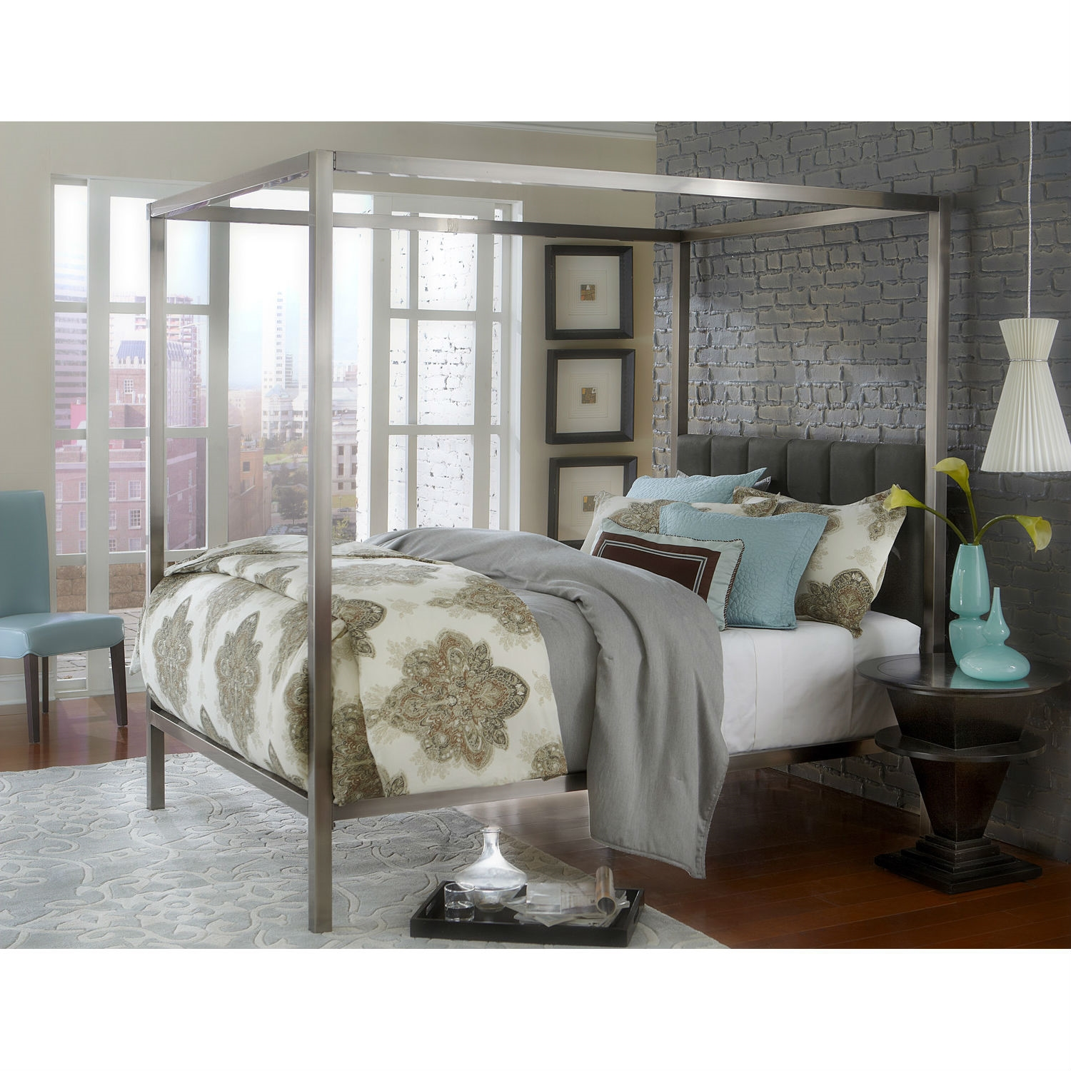 Retail Price $2699.00  sc 1 st  FastFurnishings.com & King size Modern Metal Canopy Bed with Upholstered Headboard ...