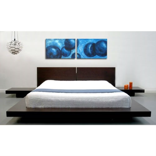 King Modern Japanese Style Platform Bed With Headboard And
