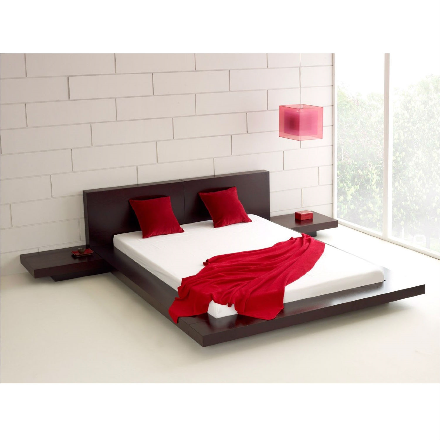 King Modern Japanese Style Platform Bed with Headboard and 2
