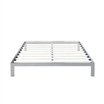 King Modern 8-inch Low Profile Platform Bed Frame in Silver Metal Finish