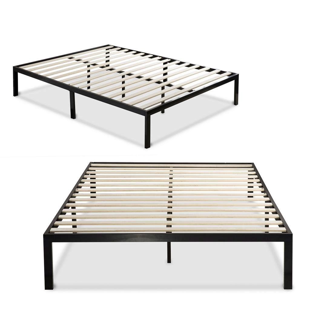 King size Modern Black Metal Platform Bed Frame with Wooden Slats