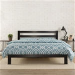 King size Heavy Duty Metal Platform Bed Frame with Headboard and Wood Slats