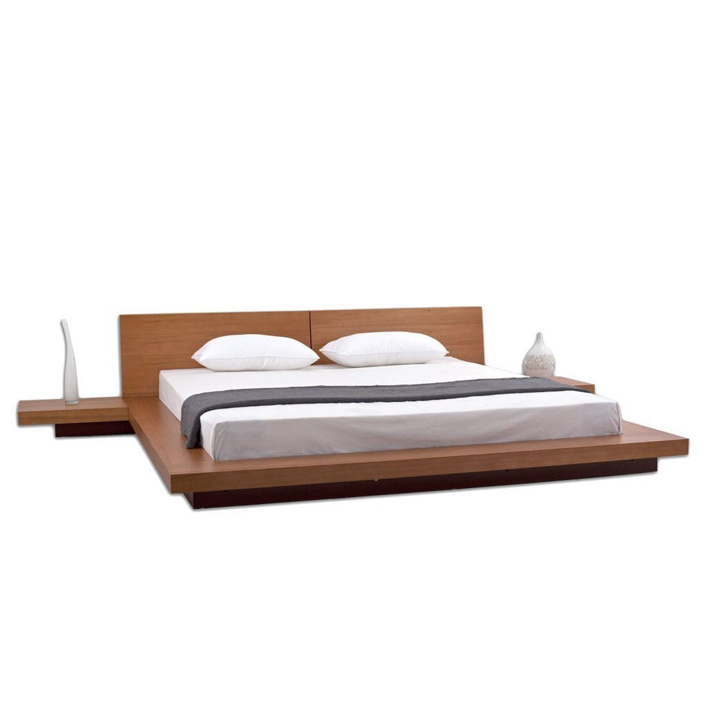 King Size Modern Japanese Style Platform Bed With Headboard And 2 Nightstands In Oak Fastfurnishings Com