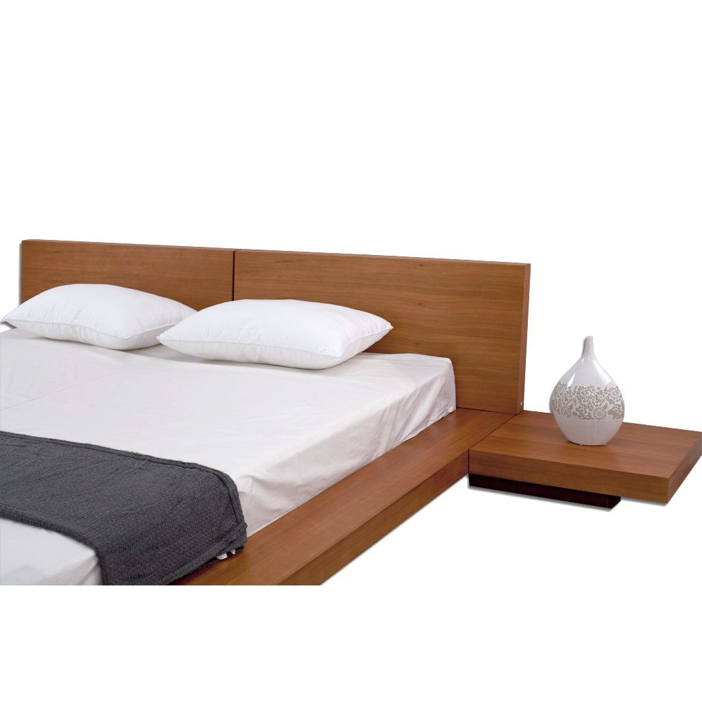 king size modern japanese style platform bed with headboard and   - retail price