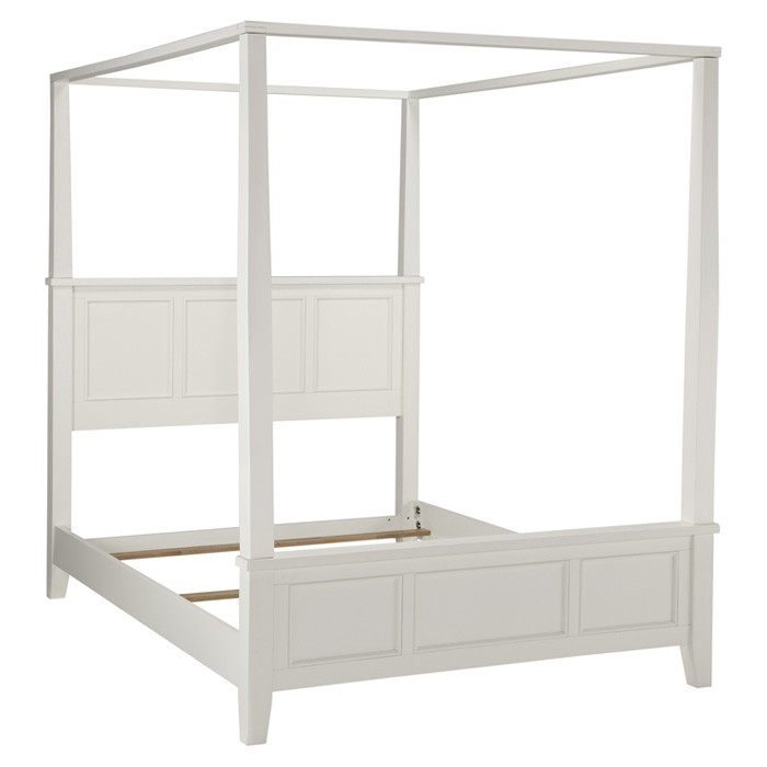 King size Contemporary Canopy Bed in White Wood Finish ...