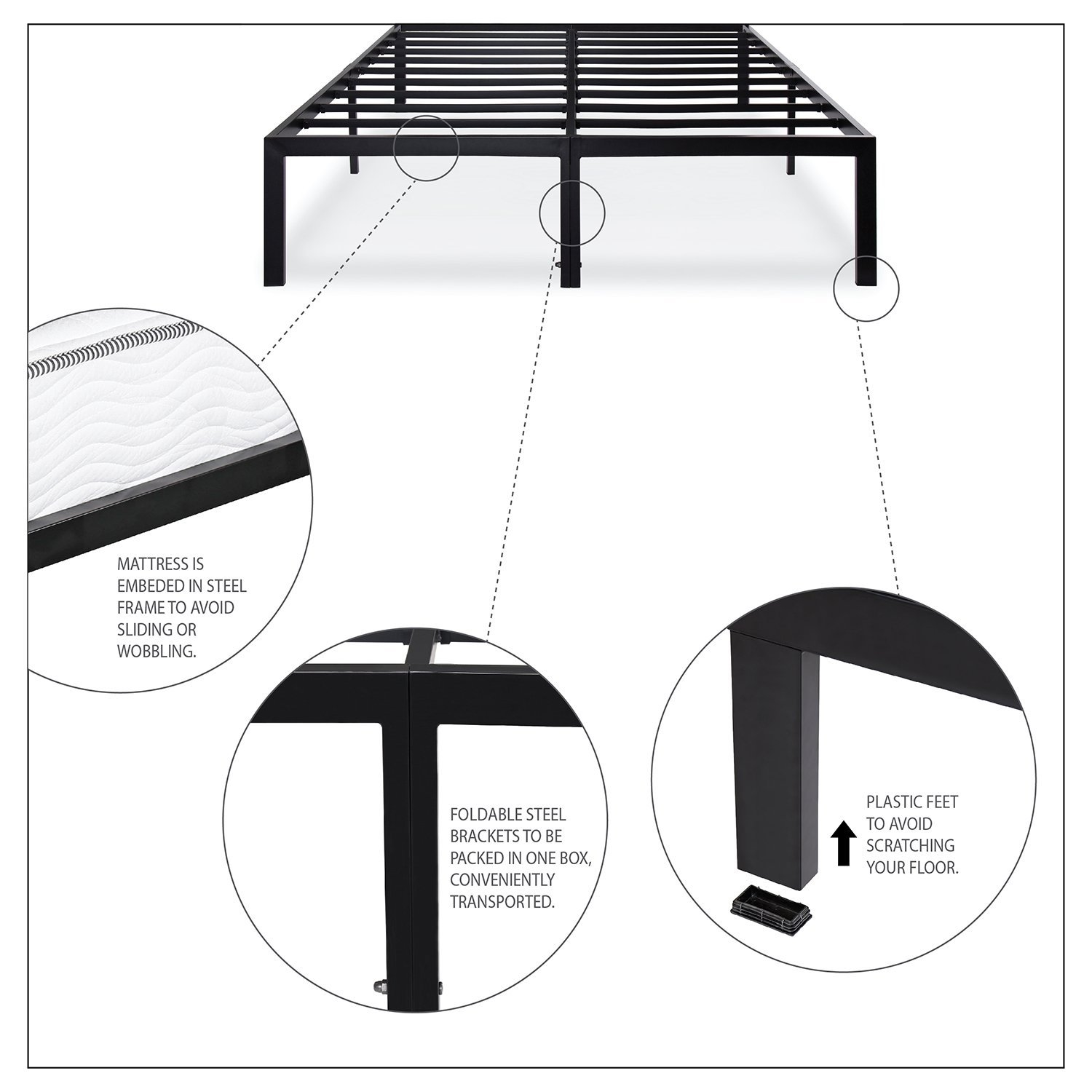 King size Sturdy Metal Platform Bed Frame Holds up to 2200 lbs