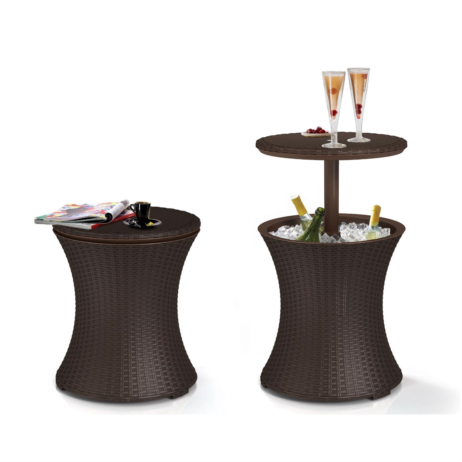 Completely new Outdoor Patio Pool Cocktail Table Cooler Bar in Brown Wicker Resin  ZR73