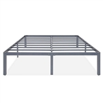 King Heavy Duty Grey Metal Platform Bed Frame with Round Edges