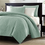 King size Seafoam Green Blue Coverlet Set with Quilted Floral Pattern