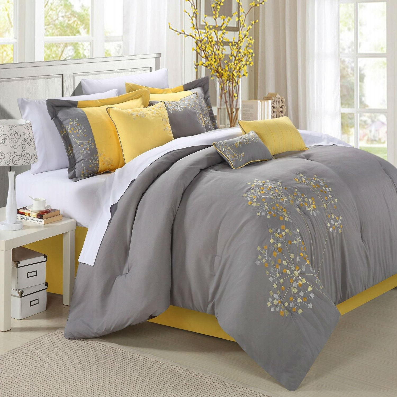 king size 8 piece modern yellow grey floral comforter set. Black Bedroom Furniture Sets. Home Design Ideas