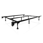 King size Sturdy 9-Leg Metal Bed Frame with Headboard Brackets