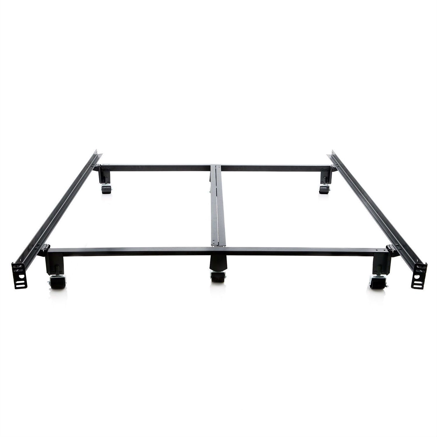 Good King Size Heavy Duty Metal Bed Frame With Locking Rug Roller Casters Wheels