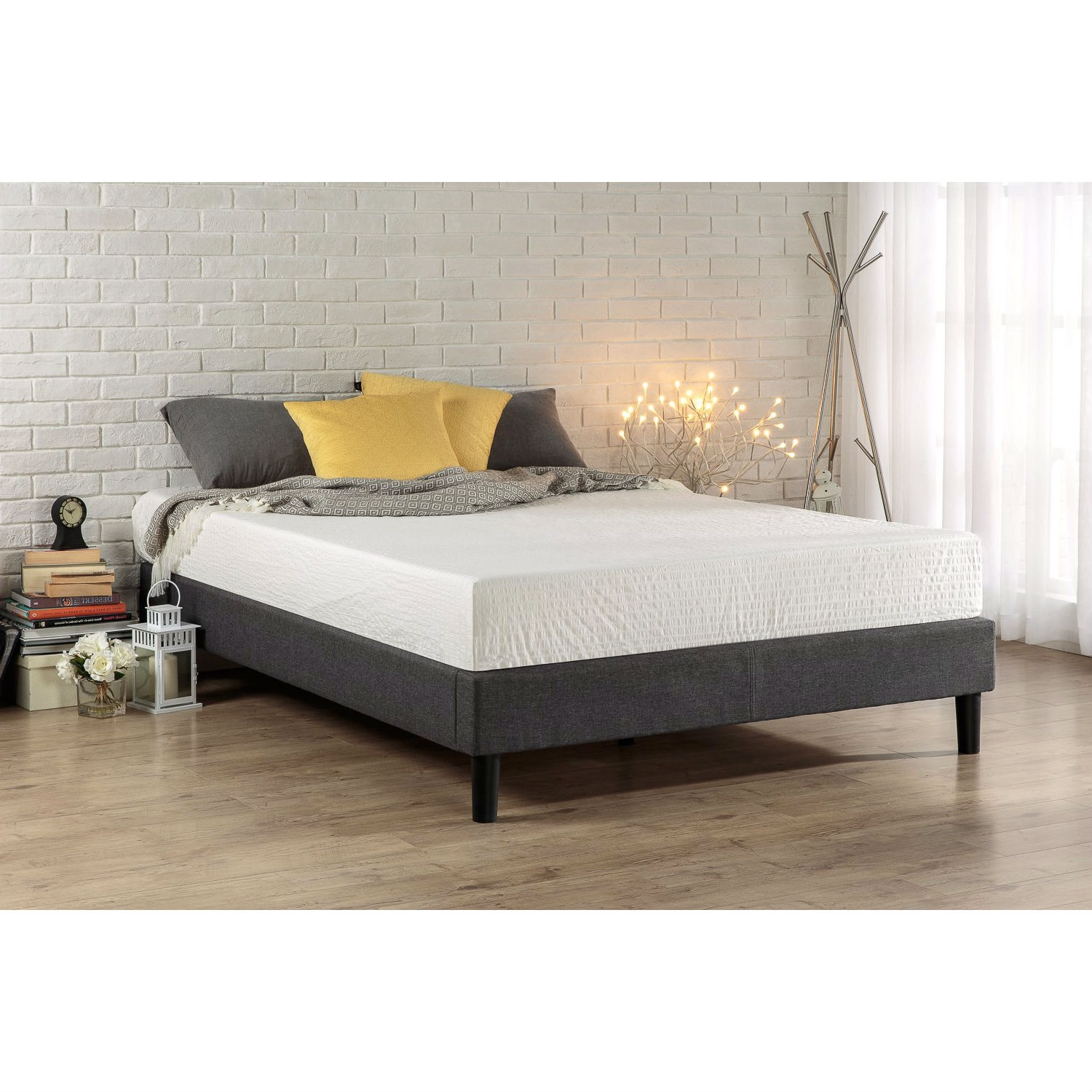 King Size Grey Upholstered Platform Bed Frame With Mid Century Style Legs Fastfurnishings