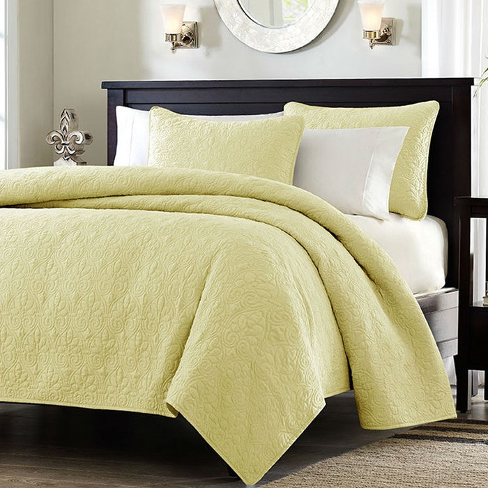 Superb King Size Yellow Quilted Polyester Microfiber Coverlet Set With Cotton Fill