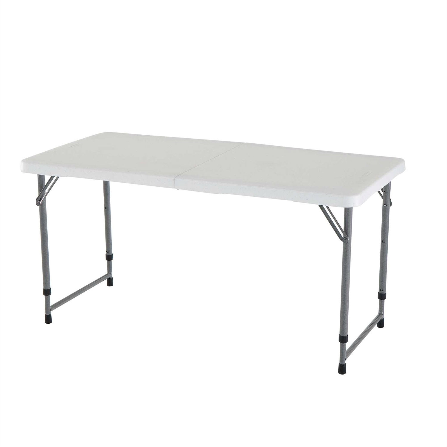 Enjoyable Adjustable Height White Hdpe Folding Table With Powder Coated Steel Frame Caraccident5 Cool Chair Designs And Ideas Caraccident5Info