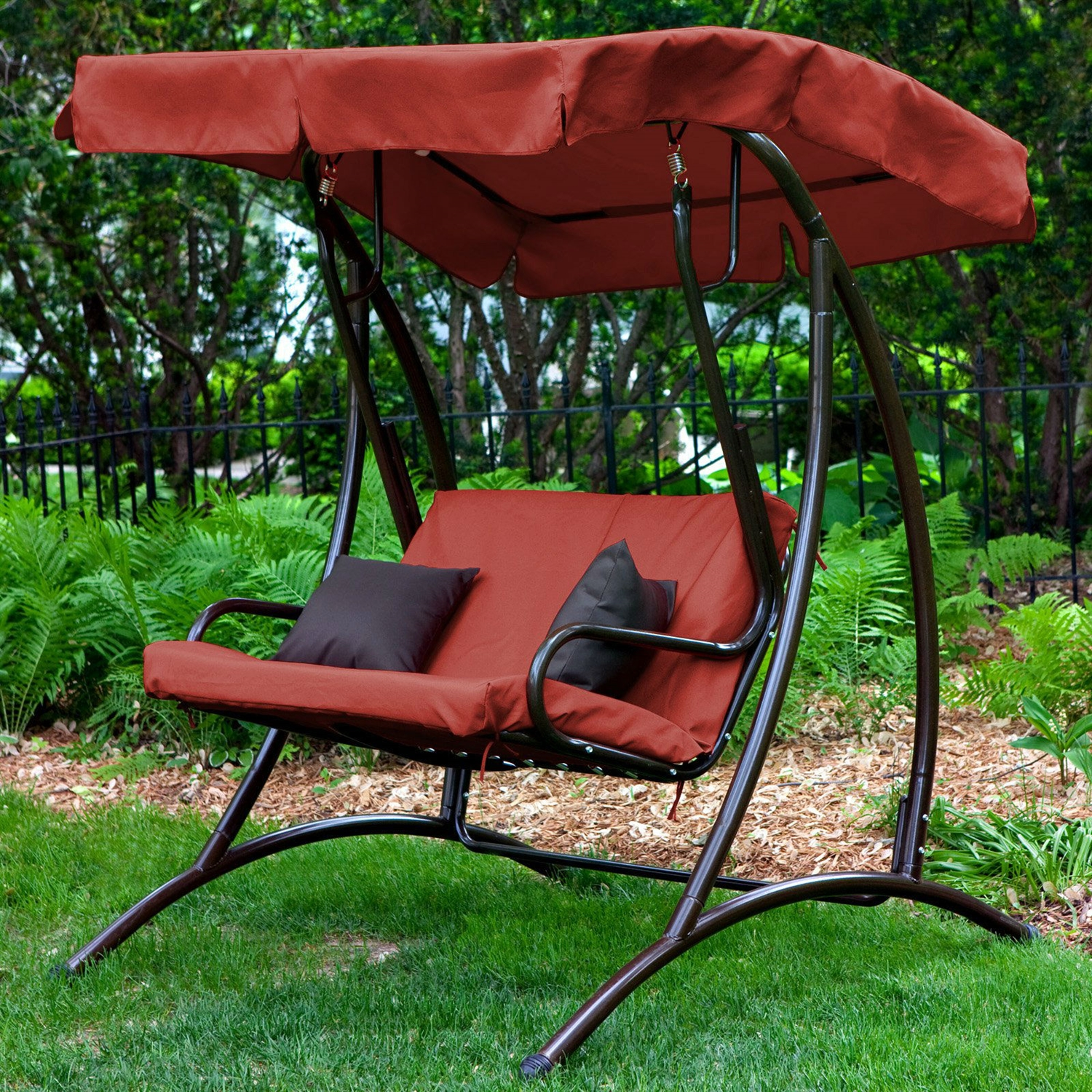 2-Seat Outdoor Porch Swing with Canopy in Terracotta Red & 2-Seat Outdoor Porch Swing with Canopy in Terracotta Red ...