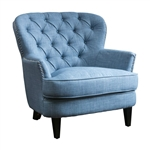 Light Blue Mid-Century Tufted Upholstered 100% Linen Armchair