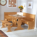 Reversible 3-Piece Corner Dining Set Light Honey Natural Wood Finish